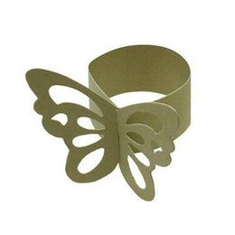 Wholesale Gold Butterfly For Decoration - Wholesale- 50pcs Butterfly Paper Napkin Rings for Wedding Party decoration pale gold