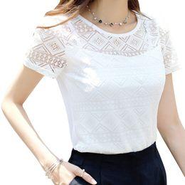 Wholesale Korean Sleeveless Pink Blouse - Small size women tops lace chiffon blouse shirt white black pink blue short sleeve summer korean office female clothing