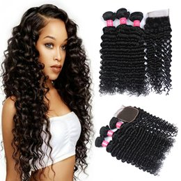 Wholesale Deep Wave Closure Bundles - 8A Brazilian Hair Weaves and Closures Peruvian Malaysian Indian Deep Wave Bundles 3 pcs Hair With 4*4 Lace Closure Human Hair Extenstions