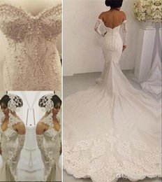 Wholesale Wedding Dresses Long Gloves - 2017 Full Lace Mermaid Berta Wedding Dresse Arabic Beading Pearls Chapel Train Sexy Back Vestido De Novia with Lace Long Gloves