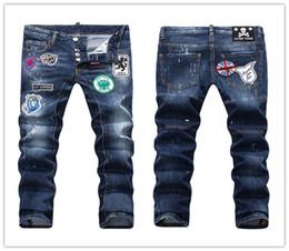 Wholesale Xs Micro - D-2017 Skinny Button Fly Jeans European Brand Micro-elastic Denim Desinger D1852-D1856 Slim Fit Shabby Holes Badge MENS Jeans