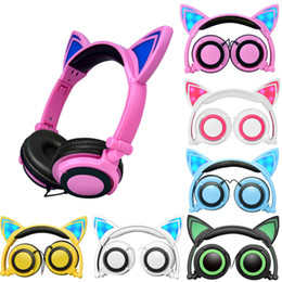 Wholesale mobile flash light - Cute Cat Ear Headphones with LED light Foldable Flashing Glowing Gaming Elf Headset Music MP3 Earphone For PC Laptop Computer Mobile Phone
