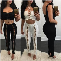 Wholesale Women Sexy Milk - Women Tight Elastic Pencil Pants 2017 Spring New Fashion Black Skinny Sexy Milk Silk Hollow Out Bandage High Waist Package Hip Pants