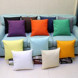 Almofadas amarelas on-line-Plain Throw Pillow Covers Fronha de Algodão Quadrado Fronhas Capas de Almofada Decorativa Sofá Carro Cobre Branco Amarelo Azul Verde 45 * 45 cm