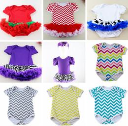 Wholesale Chevron Skirts Wholesale - INS Summer Infant Ruffle Rompers Toddler Girls Chevron Princess Baby Bodysuits Tutu Skirt Infant Newborn Jumpsuit Baby Bodysuit Rompers