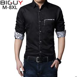 Wholesale Mens Dress Shirts Fit S - Wholesale- 2017 Casual Men Shirt Long Sleeve Mens Dress Shirts Slim Fit Social Masculina camisas Plus Size 5XL 6XL 7XL 8XL 366
