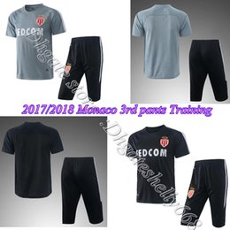 Wholesale Soccer Trainning - AAA+ 2017 2018 Monaco Grey   Black third Quarter pants + short sleeve jersey TRAINNING sets, 17 18 Monaco Grey  lack Quarter pants training