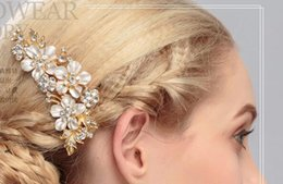 Wholesale Diamond Ponytail Holders - 2017 bride headdress handmade diamonds comb comb flower hair comb adult hair ornaments factory direct HU
