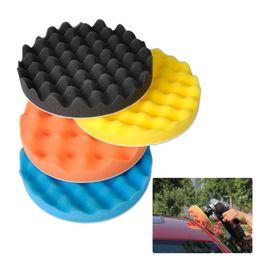 "2019 aplicador de vinil Atacado-4pcs 7 ""waffle espuma macia onda polimento buffer conjunto para lustrar polimento de veículo automóvel"