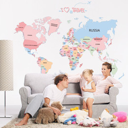 Wholesale Letter Stickers Wholesale - World Map Colorful Letter Wall Sticker Vinyl Wall Stickers For kids Rooms Living Room Home Decorations Bedroom Stickers Posters