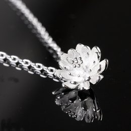 Wholesale Lotus Crystal Flower - 925 sterling silver crystal jewelry pendant statement necklaces silver lotus flower wedding charms ethnic vintage