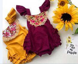 Wholesale Body Baby Clothing - INS Newborn Infant Baby Girls Lace Romper Bodysuit Cute Bebes Body Clothes Jumpsuit Outfit Sunsuit Flower Clothes 2Colors choose free 0-18M