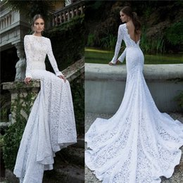 Wholesale Custom Pnina Tornai Wedding Dresses - 2017 Modest mermaid wedding dresses full lace Applique pnina tornai high neck sexy open back beach long sleeve Plus Size Bridal gown 12