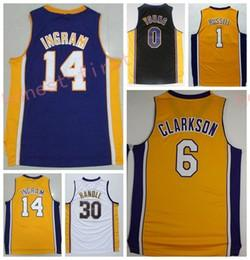 Wholesale Young 14 - Hot Sale 14 Brandon Ingram Uniforms 0 Nick Young 1 D Angelo Russell Jerseys Sport Shirt 30 Julius Randle Black Purple White Yellow