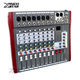 Wholesale Audio Mixer Microphone - 8 Channel Professional Audio Mixer Digital DJ Karaoke MP3 Music Sound USB Equipment Mixing Console 48V Phantom Power Amplifier
