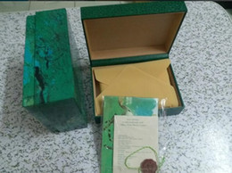 Wholesale Paper Booklets - top quality men rolex watches box green leather watches booklet card tags and papers in english