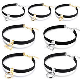 Wholesale O Ring Necklace Charms - Girls Ladies Chocker Velvet Necklace with O Ring D Ring Heart Charm Triangle Pendant Collar Chain