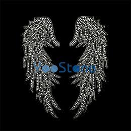 Wholesale Rhinestone Cross Transfers - Elegance Fashion Crystal Wing Rhinestone Iron On Transfers Hotfix Motif For Tshirts