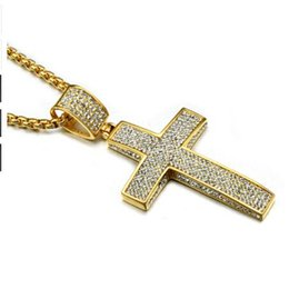Wholesale Titanium Stainless Steel Cross Pendant - Hip Hop Gold Color Titanium Stainless Steel 5 Row Micro Pave Rhinestone Iced Out Bling Cross Pendants Necklaces for Men Jewelry