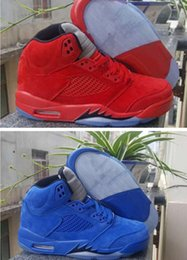Wholesale 36 V - Retro V Red Suede Blue suede man and woman basketball shoes with originals box size eur 36-47 retro 5S free shipping wholesale