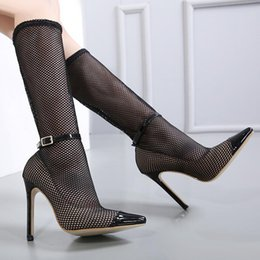 Wholesale Buckled Knee High Boots - Sexy women high heels summer hollow out meshy knee boots with buckle pointed toe shoes size 35 to 40