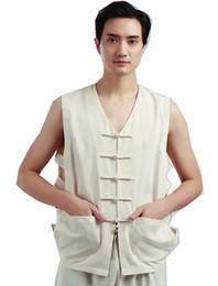Chaleco de lino chino de la vendimia de los hombres de la historia de Shangai Camisa sin mangas del verano del chaleco del trabajador de la camiseta sin mangas del verano desde fabricantes