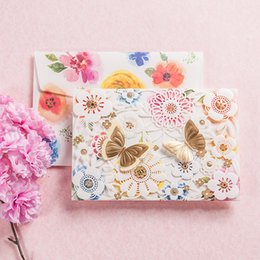 Wholesale Elegant Wedding Invitations Butterfly - Multicolor Hollow Flower Floral Wedding Invitations Elegant Laser Cut Butterfly Banquet Invite Friends Cards with Envelopes JK246