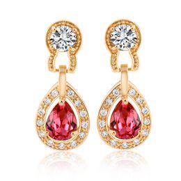 Wholesale yellow stone stud earrings - Retro 18K Yellow Gold Plated Clear Crystal Cluster Stone Teardrop Stud Earrings Fashion Jewelry for Women