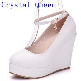 Wholesale Dress Wedding E - Crystal Queen Crystal Ankle Strap Heel High Wedges Platform Summer Pumps For Women Casual Elegant Print Wedges Platform Shoes