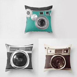 Wholesale Vintage Camera Cases - Vintage Cotton Linen Camera Printing Square Pillow Case Sofa Cushion Cover Pillowcase Home Decor