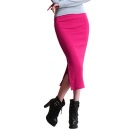 Wholesale Pencil Skirt Looks - Hot New Sexy Women Chic Pencil Skirts Office Look knitting Mid-Calf Solid Skirt Casual Slim Hip ladies skirts Saias Feminino