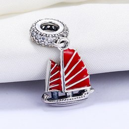 Wholesale Sailing Charms - Wholesale 925 Sterling Silver Not Plated Red Sailing Pendant Charm European Charms Beads Fit Pandora Snake Chain Bracelet DIY Jewelry