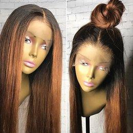 two toned straight hair Promo Codes - Ombre Two Tone Silky Straight Lace Front Human Hair Wigs Peruvian Virgin Hair 130 Density Bleached Knots Ombre Wig Full Lace Wigs Glueless