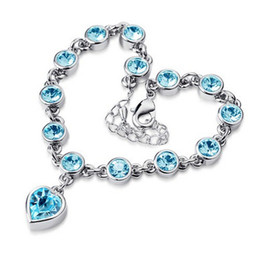 Wholesale Gold Bracelets For Health - New 18K White Gold Plated Austrian Crystal Love Heart Charm Bracelet for Women Made With Swarovski Elements Health Jewelry Wholesale Price