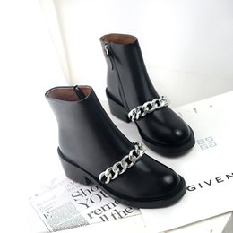 Wholesale Short Boots For Women - Wholesale- Women's Flats Ankle Boots Genuine Leather Spring Autumn Short Booties Chain Punk Female Footwear Shoes for Women Bottine Femme