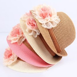 Wholesale Straw Hats For Girls - Summer Kids Floral Straw Hats Fedora Hat Children Visor Beach Sun Baby Girls Sunhat Wide Brim Floppy Panama For Girl
