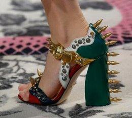 Wholesale Thick Latex - Hotsale Runway Fashion Week Style Spikes Rivet Chunky Thick Heel Strange High Heels Sandals Mixed Color Women Shoes Summer Shoes
