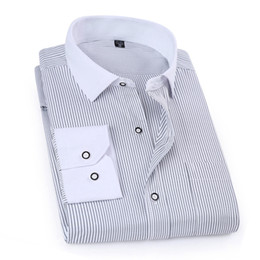 Wholesale Wholesale Mens Striped Shirts - Wholesale- 2017 Spring Classic Striped Men Business Shirt Slim Fit Formal Mens Dress Shirts Long Sleeve Overalls Vocational Shirt YN10012