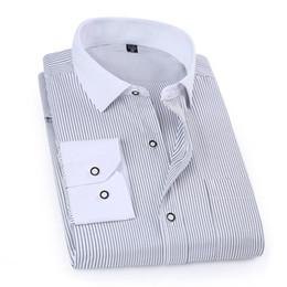 Wholesale Mens Dress Shirt Classic - Wholesale- 2017 Spring Classic Striped Men Business Shirt Slim Fit Formal Mens Dress Shirts Long Sleeve Overalls Vocational Shirt YN10012