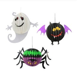Wholesale Party Scene - Halloween Decoration Hanging Spider Bat Ghost Lanterns Halloween Party Scene Layout Cosplay Decorations Party Supplies 50pcs