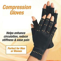 guantes de cobre Rebajas 1 Par Compresión Terapéutica Cobre Manos Artritis Guantes Hombres / Mujeres Agarre de Circulación Ultra Ligera muñecas, dedos y manos protecter