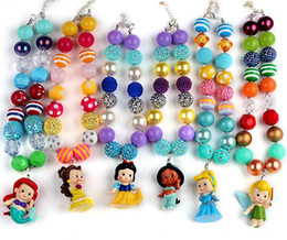 Wholesale Bubblegum Birthday Party - 6PCS Set New Style Childrens Princess Pendants Necklaces Chunky Bubblegum Beaded princess Kids Toddlers Girls Jewelry Birthday Party Gift