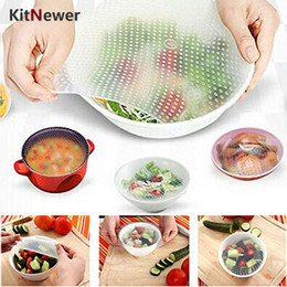 Wholesale Silicone Lids Covers - New 4pcs Multifunctional Food Fresh Keeping Saran Wrap Kitchen Tools Reusable Silicone Food Wraps Seal Vacuum Cover Lid Stretch b620
