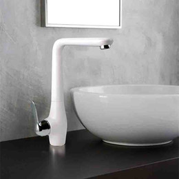 Wholesale Ceramic Art Basin - Kitchen Sink Faucet Fashion Brass Milk White Paint Art Single Handle Basin Tap with Ceramic Plate Spool