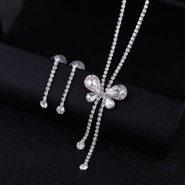 Wholesale Bridal Wedding Diamante - Special Offer New Classic Women Rhinestone Crystal Jewelry Set Bridal Wedding Jewelry Butterfly Diamante Necklace Earrings Set