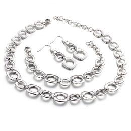 Wholesale Necklace Bracelet Jewlery Sets - New Arrival Charming Women's Jewlery Set stainless steel Fashion simple Link Bracelet necklace Earring set Good Quality