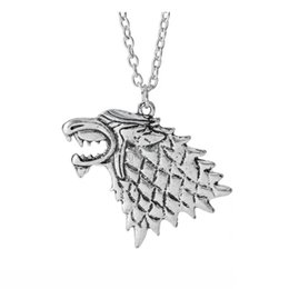 Wholesale Wolf Pendant Necklace Women - Fashion Necklaces Men Jewelry Women Pendant A Song of Ice and Fire Game of Thrones Season Starker Wolf Pendant Necklace