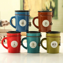 Wholesale Coffee Mug Ceramic Spoon - Wholesale- High Quality Special Vintage Ceramic Coffee Mugs Milk Cups Water Cups With Lid, JSF-Cups-036