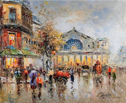 Wholesale Paris Canvas Wall Art - Framed Paris Street Scene,Pure Handpainted Impressionist Art Oil Painting On High Quality Canvas Wall Decor Multi Sizes Free Shipping Ab047
