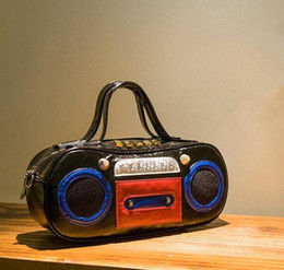 Wholesale Handbags Street Style - Factory outlet brand handbag bag retro fan in Europe Music recorder street style radio brand ladies handbag hip-hop punk bag